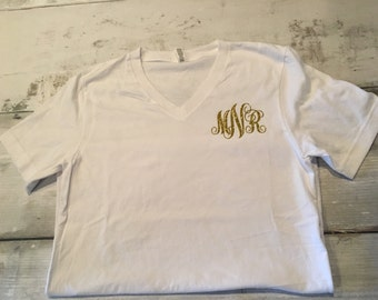 Women's Monogrammed Shirt | Bridal Party Shirts | Bride Shirt | Monogram | Preppy | script | Women's | Bridesmaids gift | wedding gift |