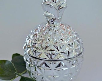 Luxe Glass Pineapple Jars for: Candles, Jewellery, Makeup Brushes, Cotton Buds, Makeup Pads. Stunning Silver.