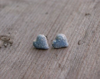 Gray blue ceramic heart earrings, Ceramic stud, blue stud, blue earrings, ceramic hearts, ceramic earrings, surgical steel posts, gift idea