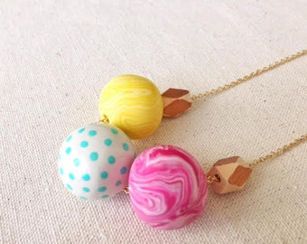 Handmade, polymer clay & natural wooden bead necklace. The 'Playtime' - in fresh, bright colours