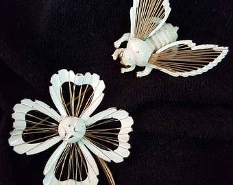 Two Piece Monet Flower and Bee Brooch Set