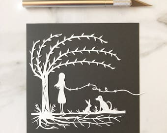 ON SALE Original Papercut Connected By Love Set of Two