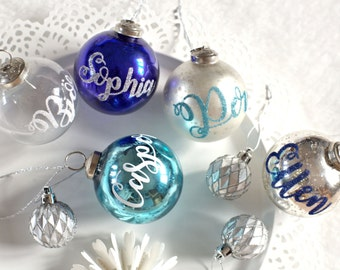 Frozen inspired Glass personalized ornaments, glass Christmas decorations, Mercury glass ornaments, Personalized Christmas gifts