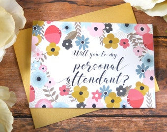 Will You Be My PERSONAL ATTENDANT CARD, Personal Attendant Card, Personal Attendant Gift, Wedding Stationery, Bridesmaid Proposal