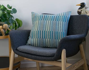 Brilliant Turquoise Wool Throw Pillow