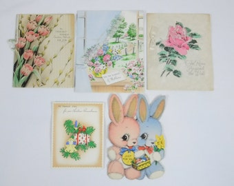 Vintage Cards Lot of 5 Used 1940s Die Cut Bunnies Flowers Rabbits Christmas Scrapbook Crafts Paper Crafting Baby Room Decor