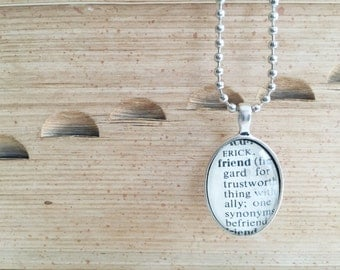dictionary {friend} vintage necklace authentic