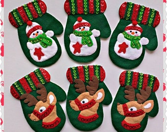Ready To Ship - Set of Six Felt Christmas Cutlery Holders, Christmas Home and Table Decoration, Christmas Table Setting
