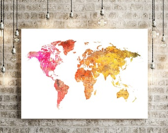 World Map Watercolor Illustration Art Print Large Map Print Map Wall Art Poster Home Decor Gift PRINT #SUNSET RED White