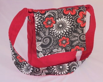 Cross-body Bag Red/Black Flowers