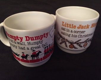 Pair of vintage nursery rhyme mugs