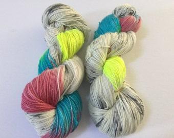 Spotted Unicorn Yarn : Sparkly superwash sock yarn hand dyed fingering weight merino nylon smoke and pet free