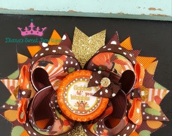 Thanksgiving hair bow, gobble gobble hair bow, turkey hair bow, holiday hair bow, newborn hair bow, give thanks, thanksgiving head band