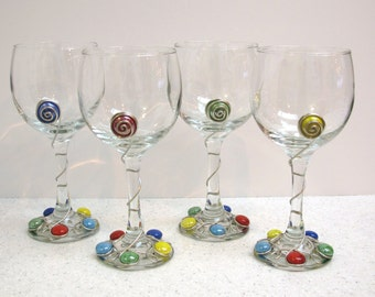 Beaded Wine Glasses, Wire Wrapped Wine Glasses, Decorated Wine Glasses, Set of 4 Wine Glasses