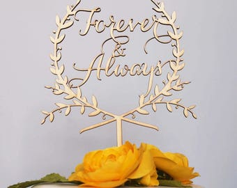 Forever & Always wreath cake topper