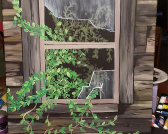 16 x 20 Canvas Acrylic Old Shed Window Painting