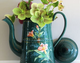 Rare Vintage French Forest Green Enamel Coffee Pot with Lilies