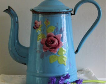 Vintage French Sky Blue Enamel Coffee Pot with Romantic Pink Roses