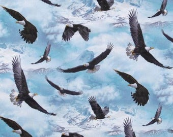 Eagles North American Wildlife Soaring, Fabric Quilting Crafting Home Decor