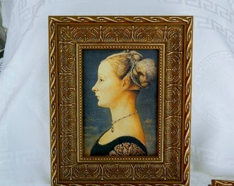 Portrait of a Lady ,Pollaiolo -print on canvas with frame