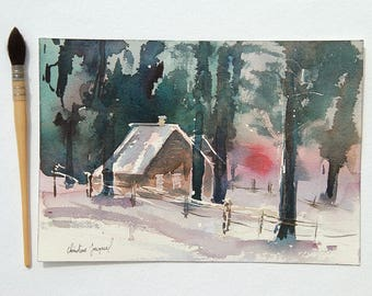 Original watercolor of a cottage in the woods, original painting, watercolor sunset in the forest, watercolor of pines in the snow