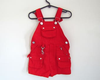 3T - Red Boys or Girls Sailor Cotton Shorty Short Overalls Shortalls Shorts 3T Toddler, Size 3