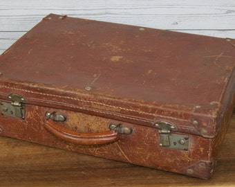 Small, Vintage, Hand Held, Brown Tan Leather Attaché or Stationery Case or Briefcase