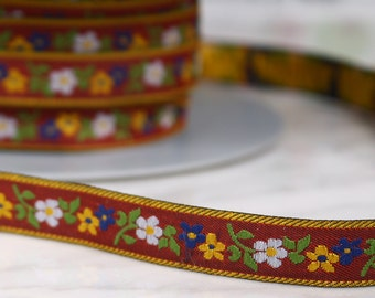 4 m 12mm, polyester, Red Ribbon and colorful patterns, (4727)