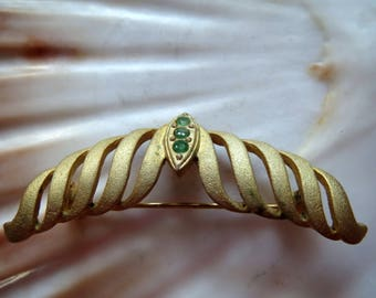 Vintage, filigree brooch, Vintagezustand, fashion jewelry, Grandma's jewelry, gold brooch, green glass, Art Deco, Art Nouveau