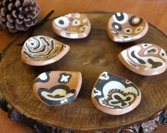 Set of 6  Ceramic Tea Bag Holder, Tea Bag Rest, Set of six, Ceramics and Pottery, Wedding Favors, Ring Dish, Ceramic Jewelry Holder