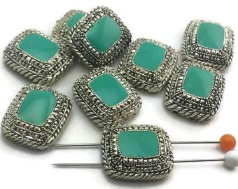 9 Turquoise marcasite style 2 hole beads 8573-F10