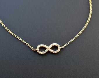 Gold Filled Sterling Silver Infinity Bracelet/ Eternity CZ Bracelet/ Cubic Zirconia Infinity Bracelet