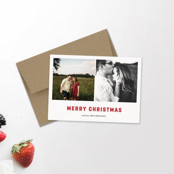 Multi Photo Modern Holiday Card | Minimalist Holiday | Hipster Christmas | Newlywed Christmas | Merry + Bright | Christmas Card | Custom