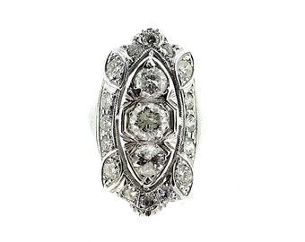Art Deco Diamond Cocktail Ring / White Gold Diamond Showpiece Ring / Large Diamond Ring / White Gold Extravagant Diamond Ring /Stunning Ring