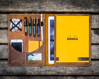 "Leather iPad Pro 12,9"" Case , iPad Pro 12,9"" Portfolio , iPad Pro Leather Padfolio , Leather iPad Folio , Personalized , Crazy Horse Brown"
