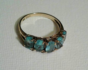 1970s 10k Gold and Blue Topaz Ring