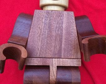 large wooden lego man