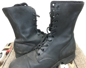 60's vintage military leather combat boots  steel toe mens size 9