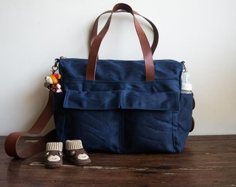 Waxed canvas bag, 9 pocket diaper bag, Waxed canvas diaper bag, Waxed canvas tote, Canvas diaper bag , Leather canvas bag, Navy Blue