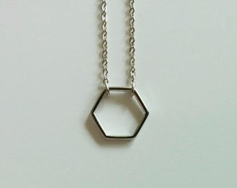 Free shipping. Hexagon. Necklace.