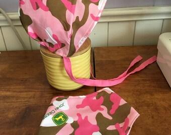 Pink Camo John Deere Baby Sun Hat