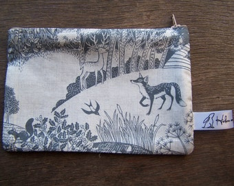 Fox and stag print fabric purse. Woodland purse, phone case, wallet. Christmas, birthday, gift for her, gift for nature lovers