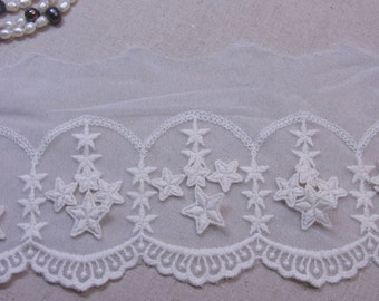 "Little Stars 3D Style Embroidery Mesh Net Tulle Lace Ivory 11cm(4.3"") Wide 1yd #3603"