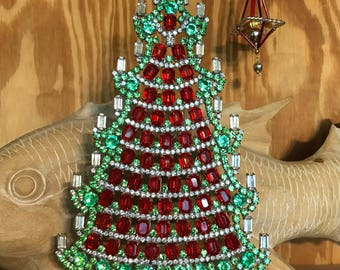 Vintage Husar Czech Rhinestone Tree, Crystal Christmas Tree, Tabletop tree, Holiday decoration, Christmas Decoration, Ornament