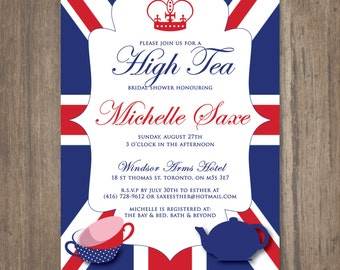 High Tea Bridal Shower Invitation, London High Tea, London, England, United Kingdom, Tea Pot, Tea Cups, Royal Crown, Crown, Patriotic,