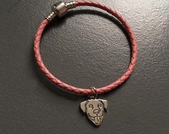Smiling Pit Bull Sterling Silver Charm on Leather Bracelet