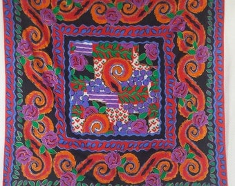 Mexican pattern, rustic and folk motif silk scarf in orange, purple, blue and green