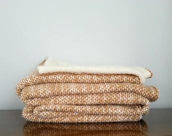 Orange Soft Wool Throw Blanket