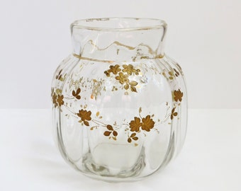 Antique French Legras Vase with Rococo Style Gilt