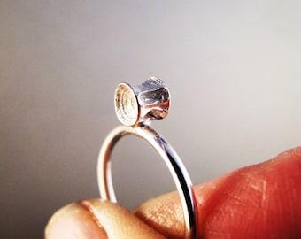 tiny vertebrae sterling ring, sterling silver ring, vertebrae ring, ooak gift for her, boho chic jewelry, stackable ring, skinny band ring